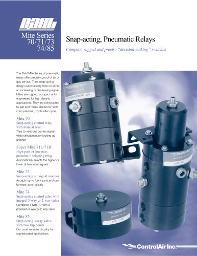 Mite 85   Snap-acting 3-way valve with two trip points