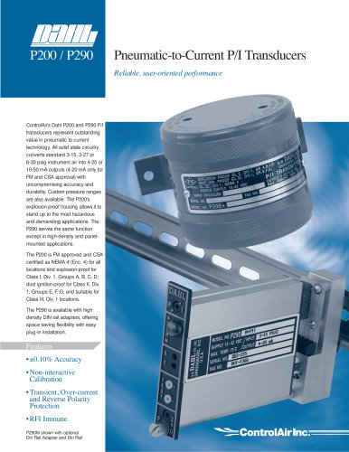 P200 / P290 - Pneumatic-to-Current P/I Transducers