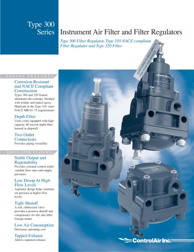 Type 300 Instrument Air Filter Regulator