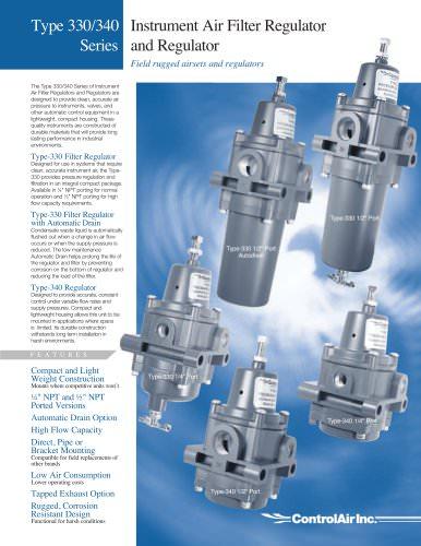 Type 330/340 Series - Instrument Air Filter Regulator and Air Regulator