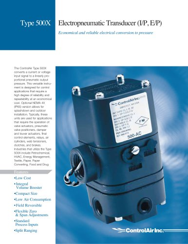 Type 500 - Electropneumatic Transducer (I/P, E/P)