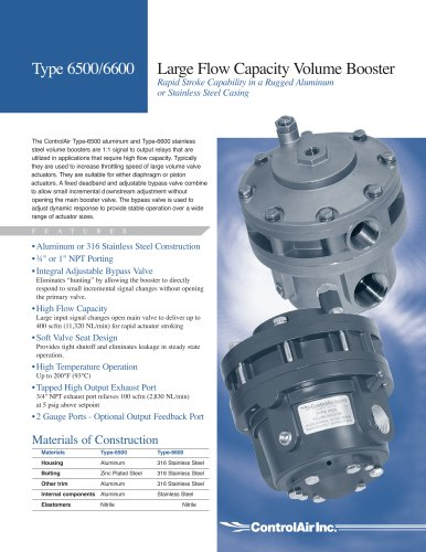 Type 6500/6600 Large Flow Capacity Volume Boosters