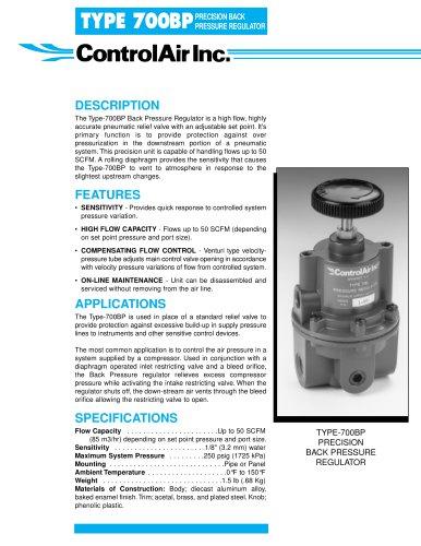 Type 700BP - Precision Back Pressure Regulator