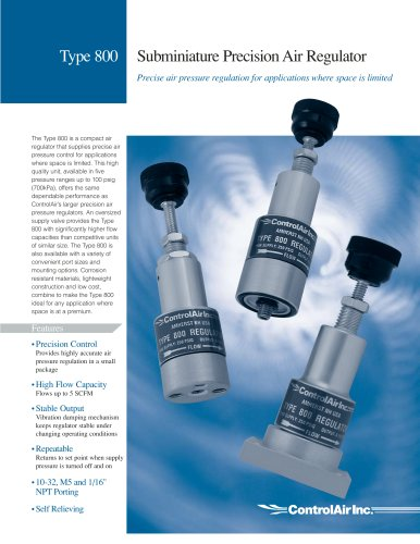 Type 800 Subminiature Precision Pressure Regulator