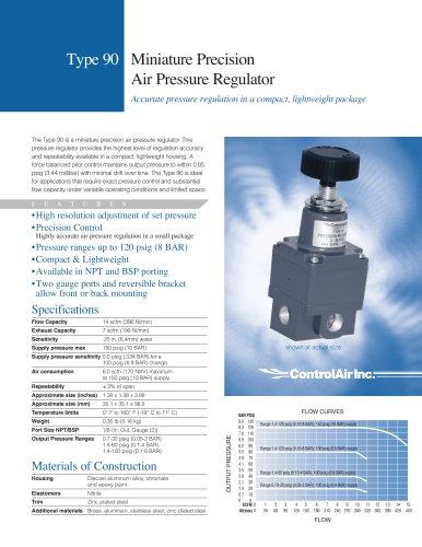 Type-90 Miniature Precision Air Pressure Regulator