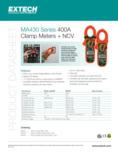 MA435T: 400A True RMS AC/DC Clamp Meter + NCV