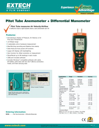 Pitot Tube Anemometer + Differential Manometer