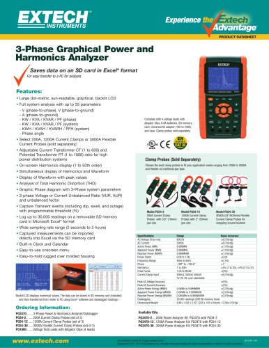 PQ3470: 3-Phase Graphical Power & Harmonics Analyzer/Datalogger