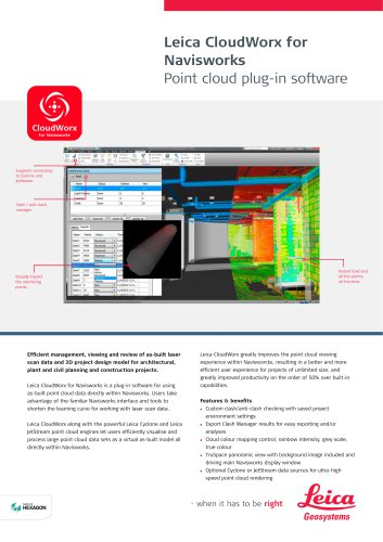 Leica CloudWorx for Navisworks Data Sheet