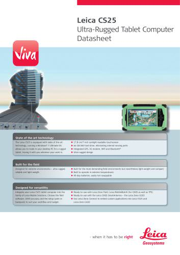 Leica CS25 Ultra-Rugged Tablet Computer Datasheet
