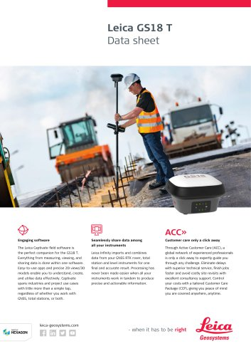 Leica GS18 T GNSS RTK Rover - Data Sheet