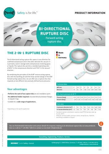 Bi-directional rupture disc Product Information