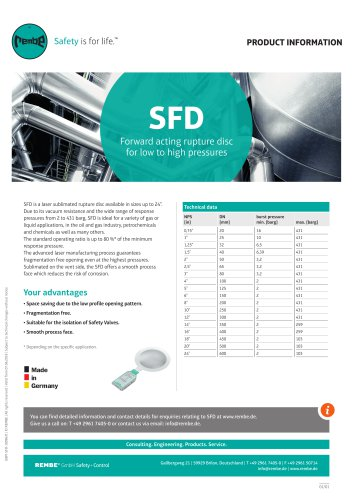 SFD Product Information