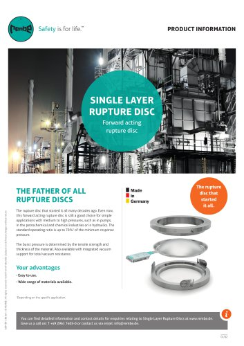 Single Layer Rupture Disc Product Information