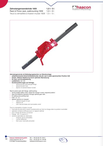 Rack & Pinion Jack, wallmounting 1659
