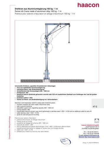 Swivel jib crane made of aluminium alloy