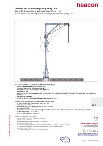 Swivel jib crane made of aluminium alloy