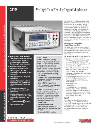 Model 2110 5-1/2-Digit Dual-Display Digital Multimeter