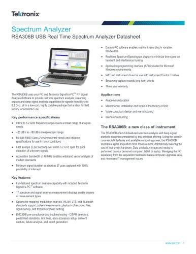Spectrum Analyzer RSA306B USB Real Time Spectrum Analyzer Datasheet