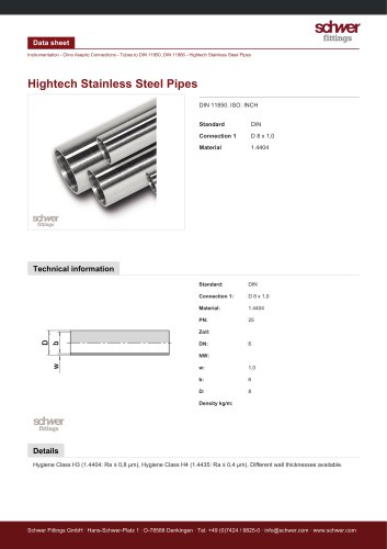 Hightech Stainless Steel Pipes
