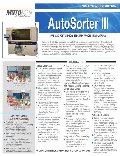 Motoman AutoSorter III Specimen Processing Platform