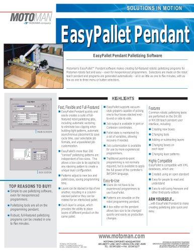 Motoman EasyPallet Pendant Palletizing Software