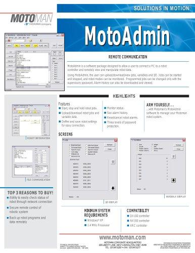 Motoman MotoAdmin Remote Communication Software