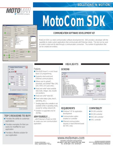 Motoman MotoCom SDK Communication Software Development Kit