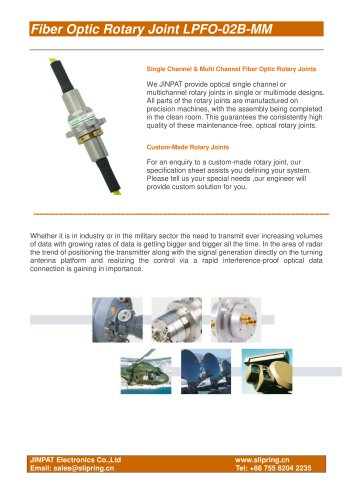 Fiber Optic Rotary Joint MM w3 mm cable (Kevlar lined) or armor LPFO-02B-MM