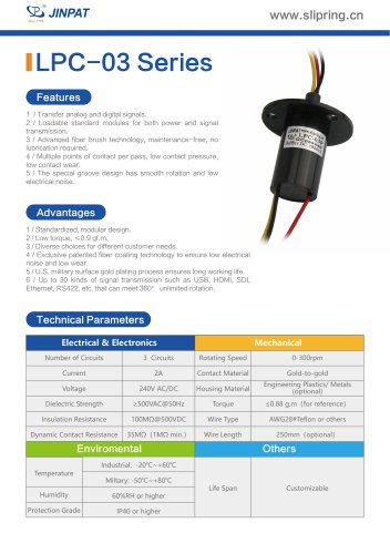 LPC-03 Series Capsule Slip Ring