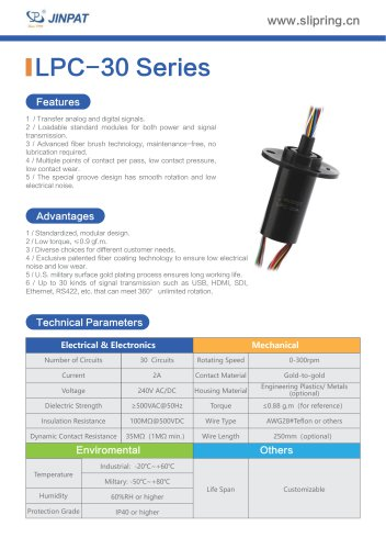 LPC-30 Series Capsule Slip Ring