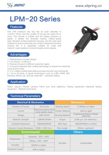 LPM-20 Series Minature Slip Ring