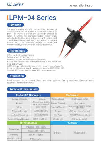 LPM-4 Series Minature Slip Ring