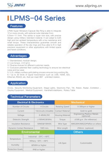 LPMS-04 Series Super Minature Slip Ring