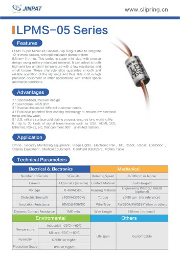 LPMS-05 Series Super Minature Slip Ring