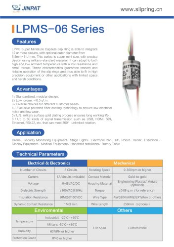 LPMS-06 Series Super Minature Slip Ring