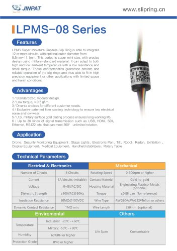 LPMS-08 Series Super Minature Slip Ring