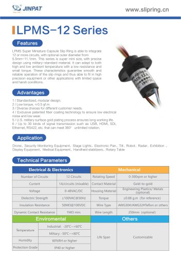 LPMS-12 Series Super Minature Slip Ring