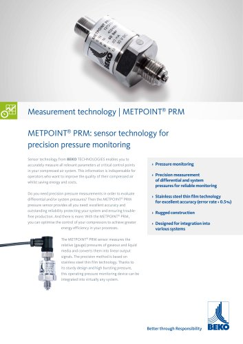 Pressure monitoring with METPOINT PRM