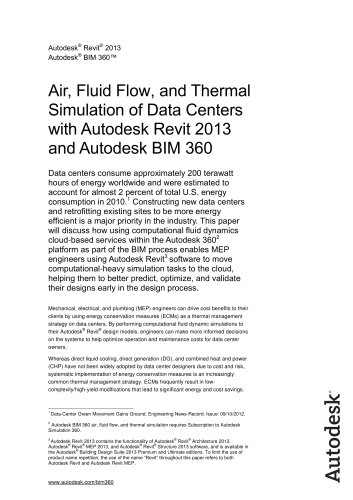 Air, Fluid Flow, and Thermal Simulation of Data Centers with Autodesk Revit 2013 and Autodesk BIM 360