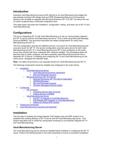 Vault Manufacturing/MSMQ/GP10 Intergration