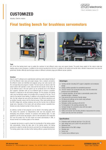 Testing bench for servomotors