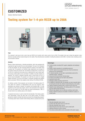 Testing system for 1-4-pin RCCB up to 250A