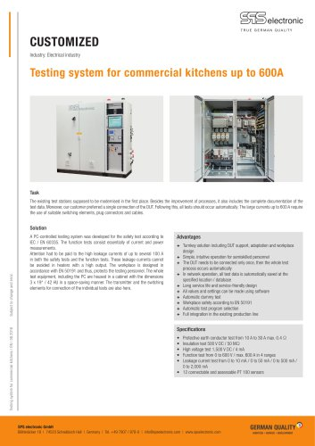 Testing system for commercial kitchens