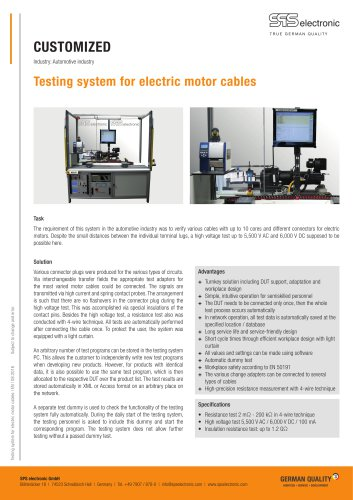 Testing system for electric motor cables