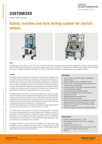 Testing system for electric pumps