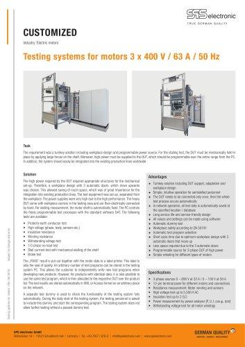 Testing system for motors