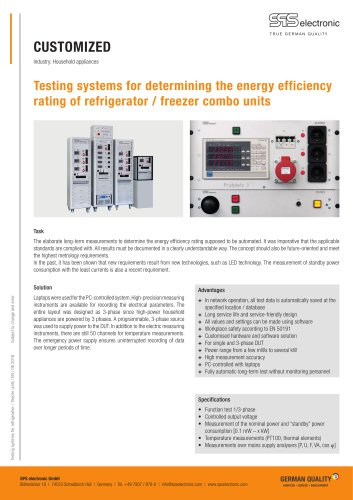 Testing system for refrigerator and freezer units