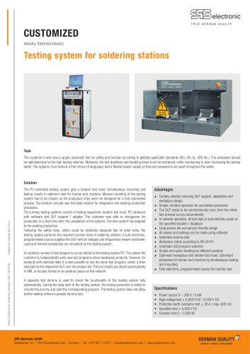 Testing system for soldering stations