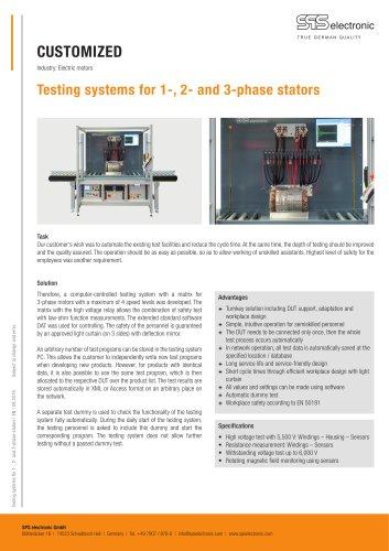 Testing system for stators